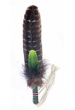 perlenbestickte Räucherfedern - Truthahn Zeremonialfeder Grün(1)