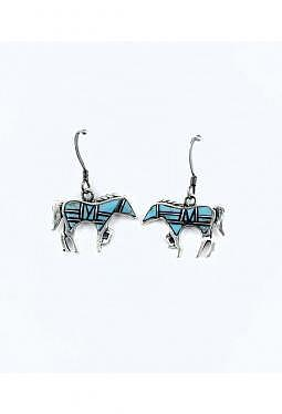 Ohrhänger Navajo Pferd mit Türkis und Jet